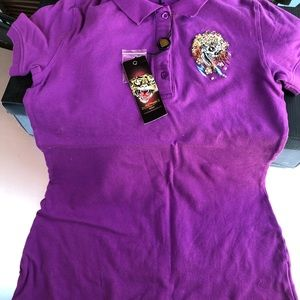 Shirt  polo Ed hardy original color purple new